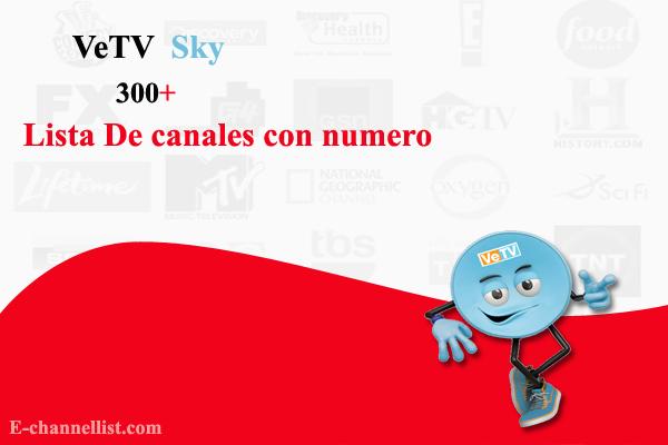 Lista De canales con numero VeTV